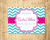 Chevron shower invitation grey, pink, yellow, aqua - Digital File Download