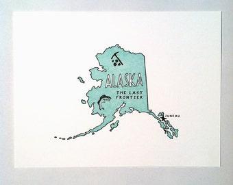 ALASKA letterpress print
