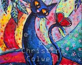 "I Love Black Cats  Instant Download Two 8"" x 10"" printable art prints from original acrylic paintings contemporary raw folk art"