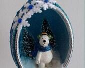 Blue Winter Polar Bear Chicken Egg Ornament
