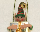 Christmas Elf Ornament Jingle Magnetic Free Standing