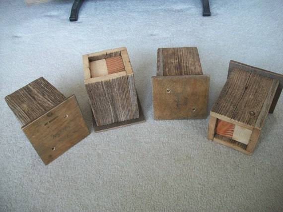Set of 4 Weathered Barn Wood Bed RISERS - 6
