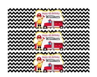 Printable Firetruck Fireman Water Bottle Labels -- Digital File Only