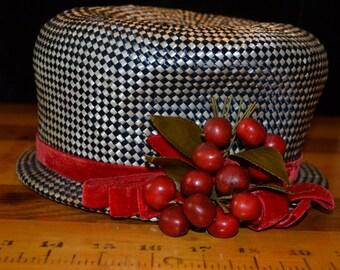 SALE...Marked Down...Vintage Cherry Hat