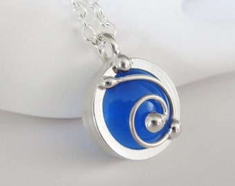 Stained Glass Pendant Necklace Spiral Blue Stained Glass Jewelry