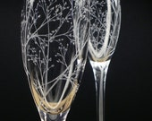 Spring Wedding Flutes 'Branches and Leaves' 2 Hand Engraved Champagne Flutes Bridal Party Gift Wedding Decor