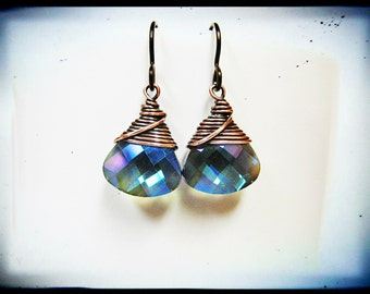 Wire Wrapped Blue Crystal Briolettes