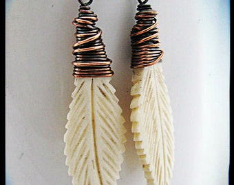 Wire Wrapped Copper and Carved Bone Earrings
