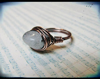 Copper Wire Wrapped Genuine Aquamarine Nugget Ring