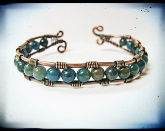 Copper and Apatite Wire Wrapped Cuff Bracelet