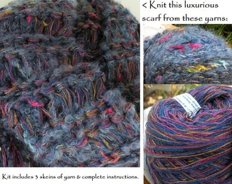 SCARF KIT for knitting a woman's scarf, includes 3 skeins wool mohair blend blue-violet yarn and directions pattern. Great gift. 320a