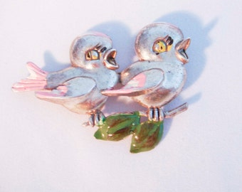 Silver Painted Bird Birds on a Branch Brooch Vintage Antique