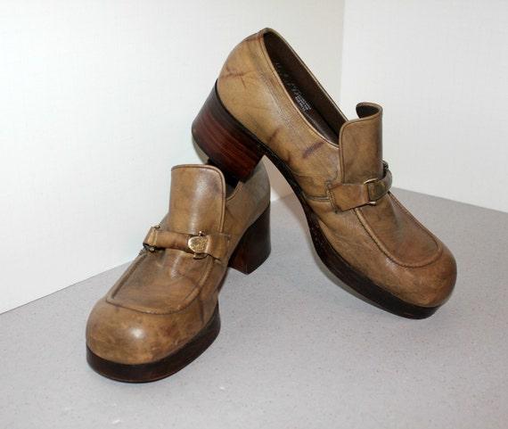 vintage platform shoes mens winthrop sz 11 d brown leather