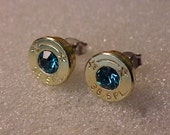 Bullet Earrings 38 Special Brass Shell Teal Blue Swarovski Crystal - Free Shipping to USA