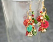 Button Dangle Earrings / Gold Bells Christmas Jewelry / Fun Red and Green Earrings by randomcreative on Etsy