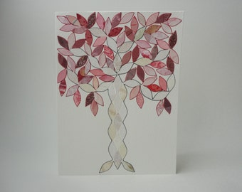 Shiny Pink Tree Note Card, OOAK, Vintage Wallpaper, Hand Cut Leaves, Original, Mosaic Pattern, Arts and Crafts, Stained Glass, Art Deco
