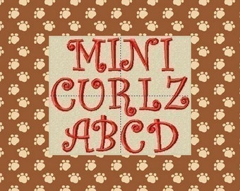 Mini Curlz Machine Embroidery Font and Alphabet  3 Sizes