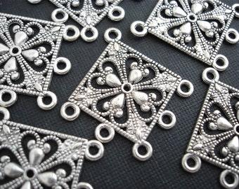 Silver Earring Chandelier Findings Rhombus Diamond 6