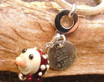 Handmade hedgehog charm for necklace or bracelet
