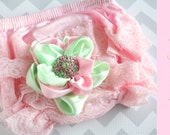 lace bloomer set { Sugar Kisses } Pink, and mint green Ruffle bloomers, Shabby Headband, Spring Easter photography prop