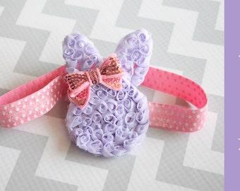 Easter Headband { Brinlee Bunny } Lavender, pink Easter Spring headband, polka dot Elastic Headband baby girl photography prop