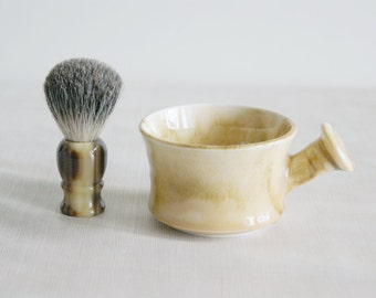 Light Yellow Ceramic Apothecary Shaving Mug for Hot Wet Shave - Shaving Cup - Shaving Mug