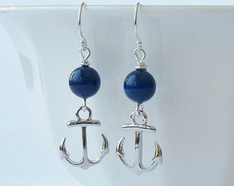 LAST ONE Anchor Dangle Earrings, Nautical Jewelry