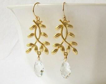 Crystal Clear Branch Drop Earrings