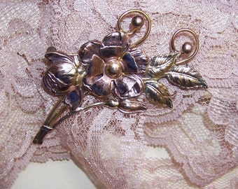 1950s STERLING SILVER & Gold Filled Two Tone Floral Pin/Brooch