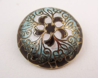 antique button enamel gothic 19th century