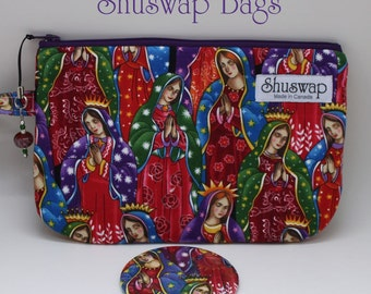 Guadelupe Print Wristlet and Mirror Set