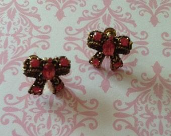 Vintage CORO Pink Rhinestone Bow Screw Back Earrings glam