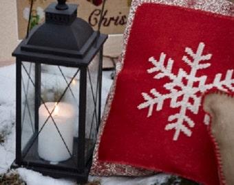Christmas pillow SNOWFLAKE - pillow cover,scandinavian,swedish,throw pillow,burlap,red,cushion,needlepoint,cross stitch,embroidery,handmade