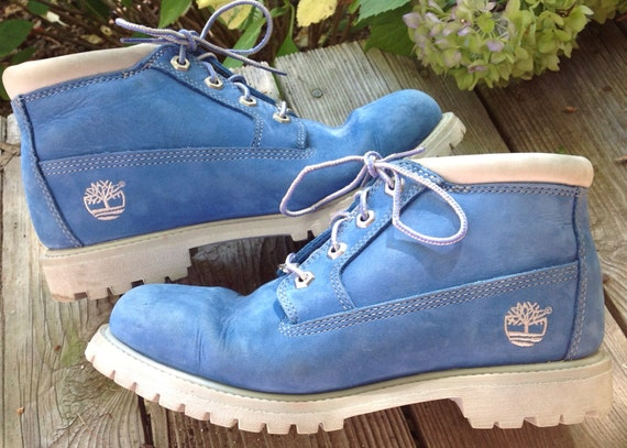 Baby Blue Timberland Suede Boots Lace Up Womens Size 8 M