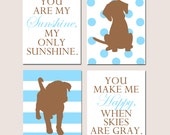 Baby Boy Puppy Nursery Art Quad - Set of Four 8x10 Prints - You Are My Sunshine Quote - Stripe and Polka Dot Puppy Dogs - CHOOSE YOUR COLORS