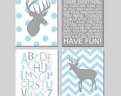 Baby Boy Nursery Art - Chevron Deer Nursery Prints - Kids Wall Art Baby Boys Room - Baby Nursery Decor Playroom Rules Quote - Four 11x14