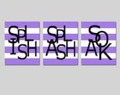 Kids Bathroom Wall Art Print Set - Pick THREE 8x10 Stripe Prints - Wash, Brush, Soak, Splish, Splash, Flush - Choose Your Colors