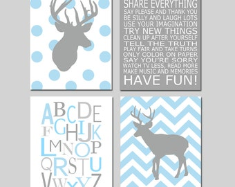 Baby Boy Nursery Art - Chevron Deer Nursery Prints - Kids Wall Art Baby Boys Room - Baby Nursery Decor Playroom Rules Quote - Four 8x10