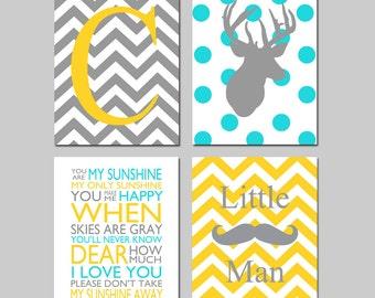 Baby Boy Nursery Art - Deer Nursery Prints - Kids Wall Art Baby Boys Room - Baby Nursery Decor - You Are My Sunshine - Mustache - Four 8x10