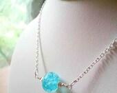 Lampwork aqua turquoise silver bubble necklace