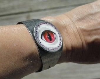Eye art,  Lovers Eye jewelry, Eye painting, Cuff Bracelet, Red Eye, Hand made bracelet