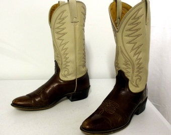 Acme cowboy boots -brown and off white - size 9 A - vintage western wear
