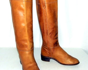 Distressed Light Tan Tall Fashion Boots - womens size 7 B