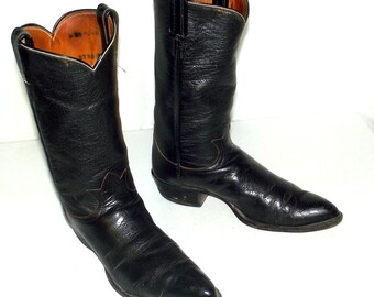 Vintage Rockabilly Western Black Leather cowboy boots mens size 9.5 D / womens 11