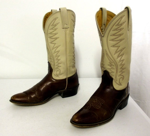 acme cowboy boots brown and white size 9 a vintage