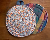 Pot Holder with orange and blue print and plaid