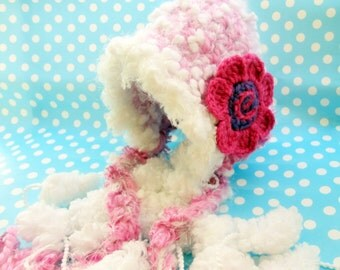 Cute Baby Hat with Pompoms, Pink Baby Girl Beanie, Handmade Baby Gift Ideas, Newborn Photo Prop Hat, Baby Shower Gift