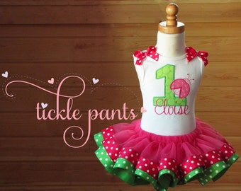 Little Lady Ladybug Birthday Tutu Outfit- Includes top, tutu - Bright pink and lime dots- Can be made to match your party