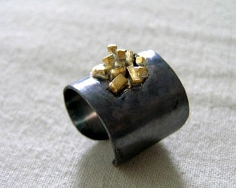 Oxidized Sterling Silver Cuff Ring with Gold Plated Little Rocks .Wrap Ring.