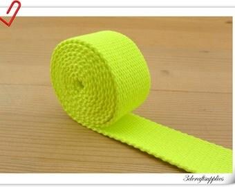 1.25 inch (32mm) Neon Green Cotton webbing  purse strap  key fob strap bag strap  5 yards ZD68